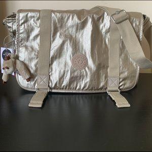 New Kipling Metallic Gold Messenger Laptop Bag